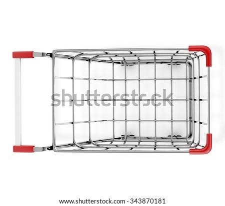top view shopping cart 3d render - stock photo