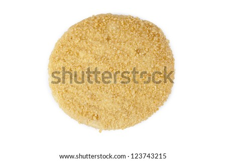 Top view shot of crispy chicken burger patty separated in a white background - stock photo