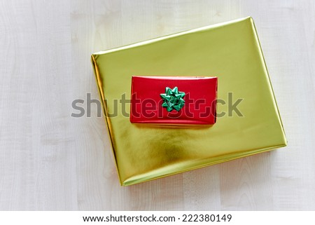 Top view showing luxury gift boxes, red and golden