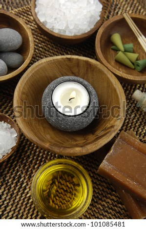 Top view spa setting on straw mat - stock photo