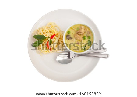 top view Spaghetti and Green Curry Chicken in white isolated ,chicken, spaghetti ,Eggplant,Hot,Pepper Thai Green Curry with Chicken - stock photo