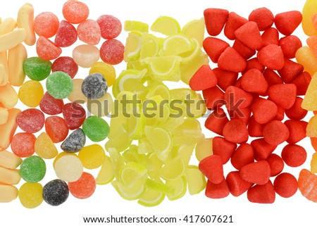 top view sugar coated assorted candy