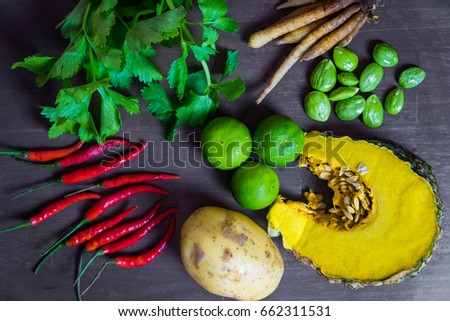 Top View Thai Food Ingredients On Wooden Background.