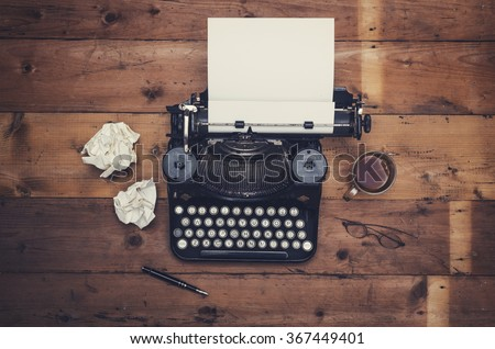 Top view thirties retro writers desk with typewriter - stock photo