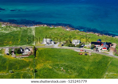 Top view to Norway village on coast. Traditional norwegian cabins near sea on green field