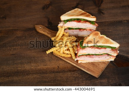 top view toasted chicken club sandwich - stock photo