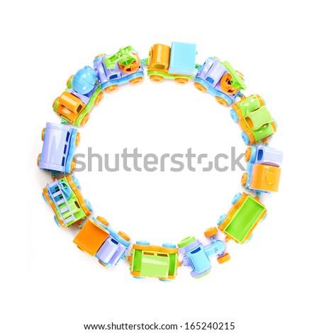 top view toy train of trucks on white background - stock photo