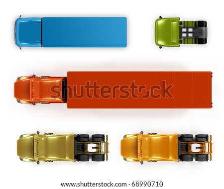 Top view trucks isolated on white - stock photo