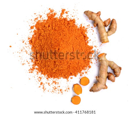 top view Turmeric roots and turmeric powder on white background - stock photo