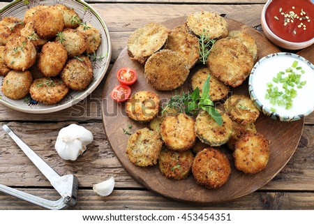 top view vegetarian food fried zucchini and eggplant  on rustic background - stock photo