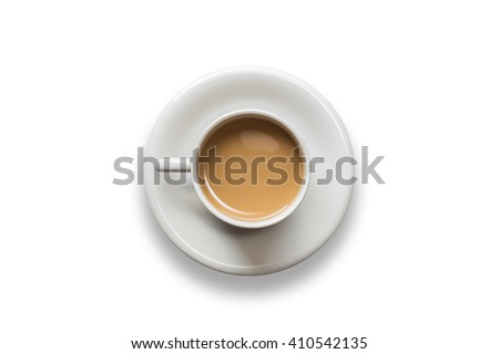 Top view white coffee cup isolated on white background - stock photo