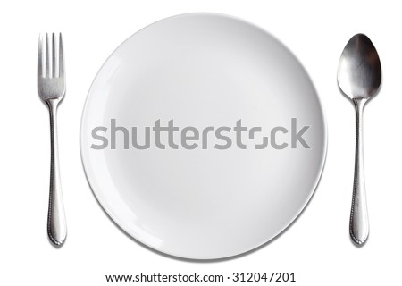 Top view White dish spoon fork isolate on white background