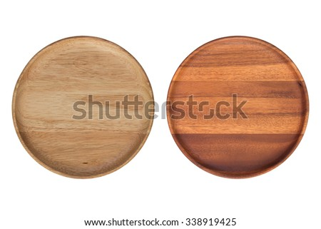Top view, Wooden plate isolated on white background - stock photo