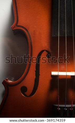 Top view wooden violin,music instrument. - stock photo
