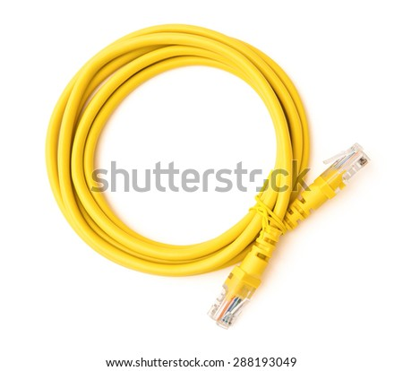top view yellow RJ45 computer network connecting cable on white with clipping path - stock photo