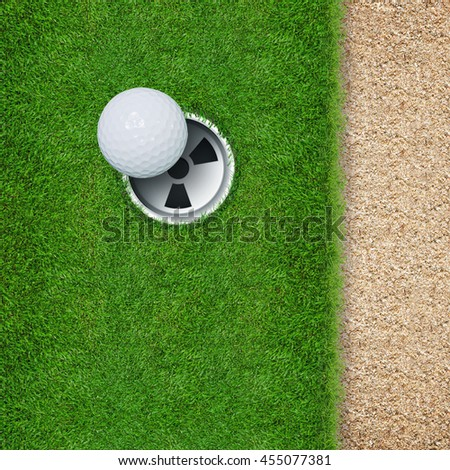 Top views of golf hole and golf ball on green grass texture and sand background.