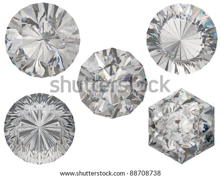 Top views of round and hexagonal diamond cuts over white background - stock photo