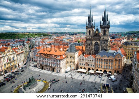 top views of the old town in Prague - stock photo
