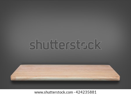 top wooden shelf on dark grey background For product display.