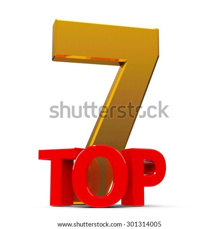 Top 7 word, isolated on white background, three-dimensional rendering - stock photo