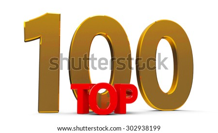 Top 100 word, isolated on white background, three-dimensional rendering - stock photo