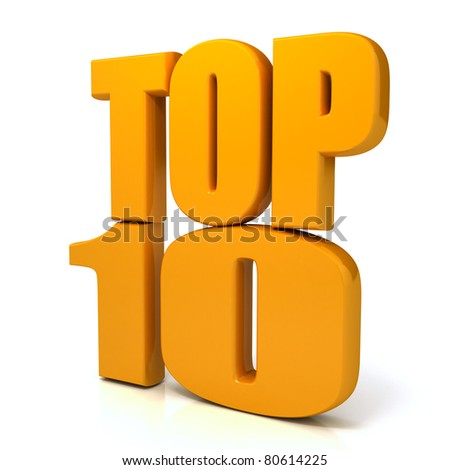 Top 10 words over white background. com - stock photo