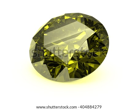Topaz crystal of a diamond shape on a white background. 3D rendering.