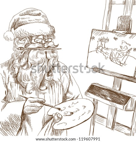 Topic: Santa Claus himself made gifts - Painting Christmas card on canvas. Full-sized (original) hand drawing. Technique: digital tablet. Number of colors: hundreds.