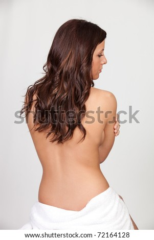 Topless Beautiful Brunette Back Isolated on white Background - stock photo