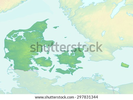 Topographic Map Denmark Shaded Relief Elevation Stock Illustration