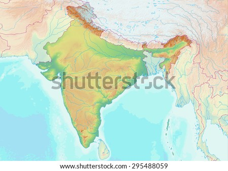 Topographic map of India with shaded relief and elevation colors. Elements of this image furnished by NASA. - stock photo