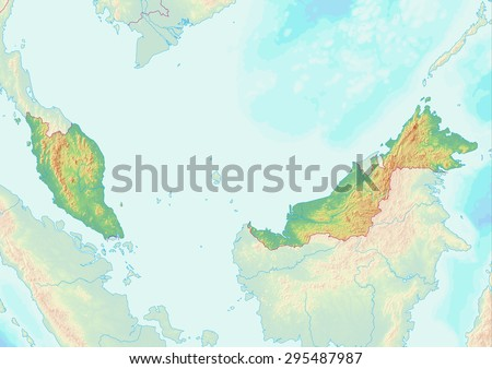 Topographic Map Malaysia Shaded Relief Elevation Stock Illustration