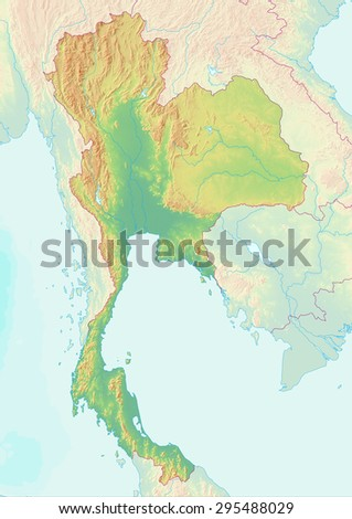 Topographic map of Thailand with shaded relief and elevation colors. Elements of this image furnished by NASA.