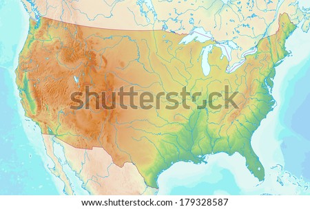 topographic map of the usa with shaded relief and elevation colors elements of this image