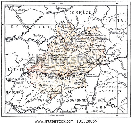 Topographical Map of the Department of Lot in Midi-Pyrenees, France, vintage engraved illustration. Dictionary of Words and Things - Larive and Fleury - 1895