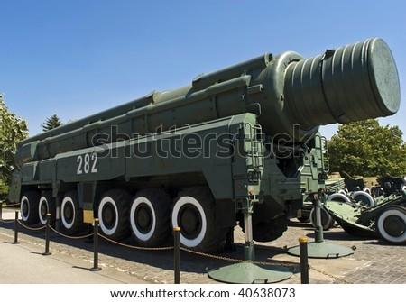 topol rocket launcher of strategic rockets - stock photo