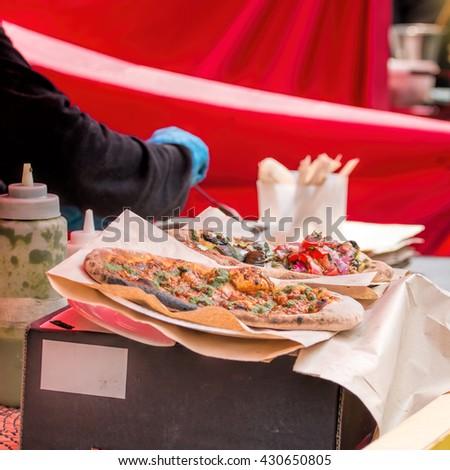 Topped Flatbread Gourmet Street Food. - stock photo