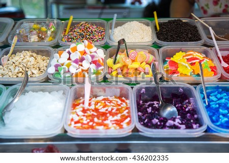 Topping for ice cream or shaved ice.