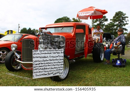 TOPPING, VA- SEPTEMBER 28: A 1932 Coupe and trailer at the 18th Annual Wings, Wheels and Keels event at Hummel Air Field Topping Virginia on September 28, 2013  - stock photo