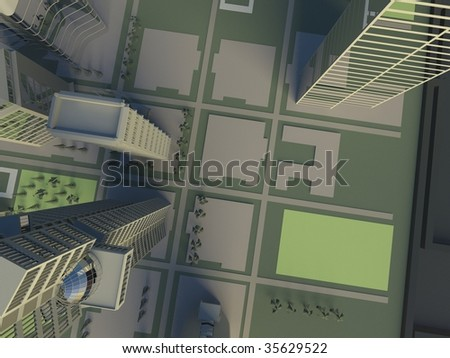 topview in the city - stock photo