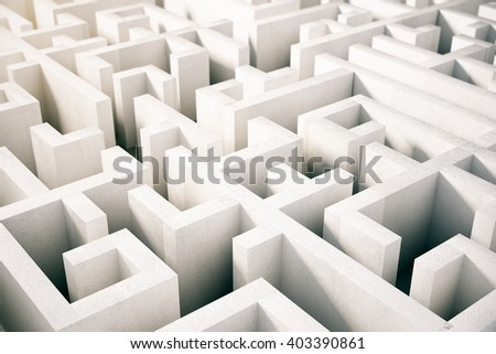 Topview of concrete labyrinth. 3D Rendering - stock photo