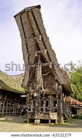 Toraja traditional village housing in Indonesia, Sulawasi - stock photo