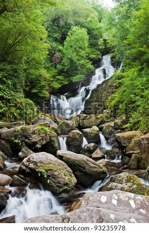 Torc waterfall in Ireland. - stock photo