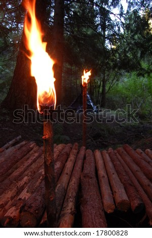 Torches and a makeshift bridge - stock photo