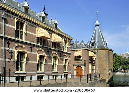 Torentje (The Little Tower) is the official office of the Prime Minister of The Netherlands since 1982 in The Hague.It is situated at the political center of Holland called the Binnenhof  - stock photo