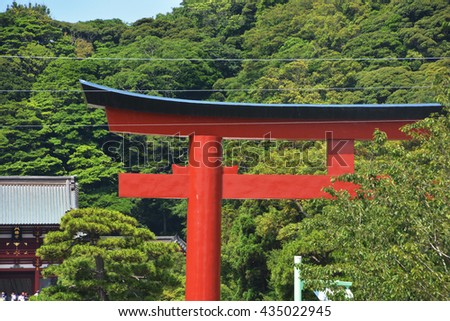 Torii, a traditional Japanese gate  of  a Shinto shrine.