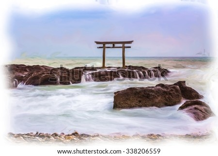 Torii in the sea at Oarai, Ibaraki, Japan - digital oil painting - stock photo