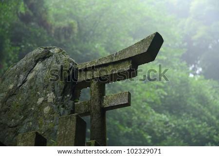 Torii stone gate - a symbol of japan - stock photo
