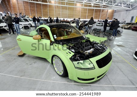 TORINO, ITALY - FEBRUARY 15, 2015: A Exposition of tuned cars on display at Expo Tuning Torino. Special edition of custom and personalized Audi TT in Torino business place on February 15, 2015 - stock photo