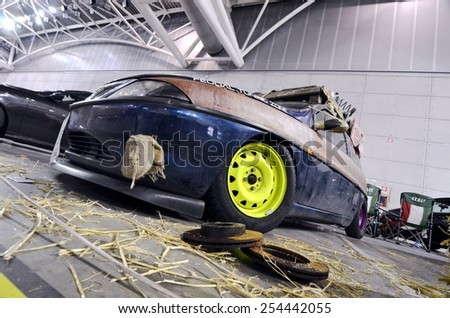 TORINO, ITALY - FEBRUARY 15, 2015: Vintage custom Lancia Ypsilon in Rat-style or Rat-Rod. It's a new generation of tuning, usually crummy looking exterior with rust colored parts on February 15, 2015 - stock photo